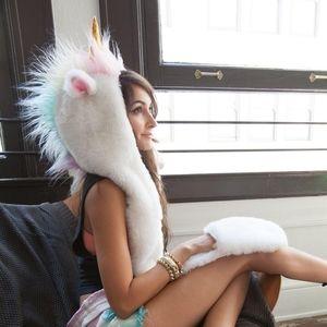Unicorn scoodie hat/ scarf / gloves